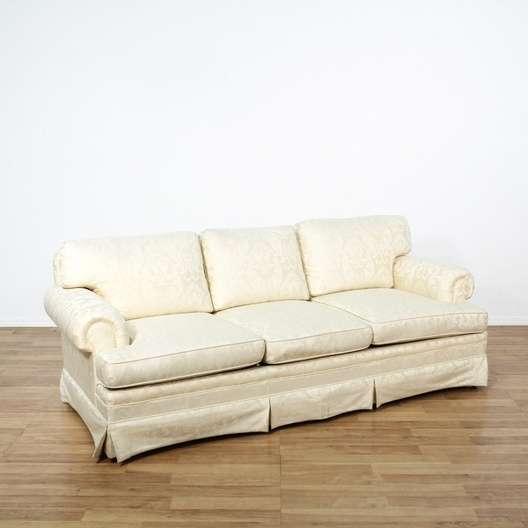 Swell Damask Brocade White Sofa 2 Loveseat Vintage Furniture Los Theyellowbook Wood Chair Design Ideas Theyellowbookinfo