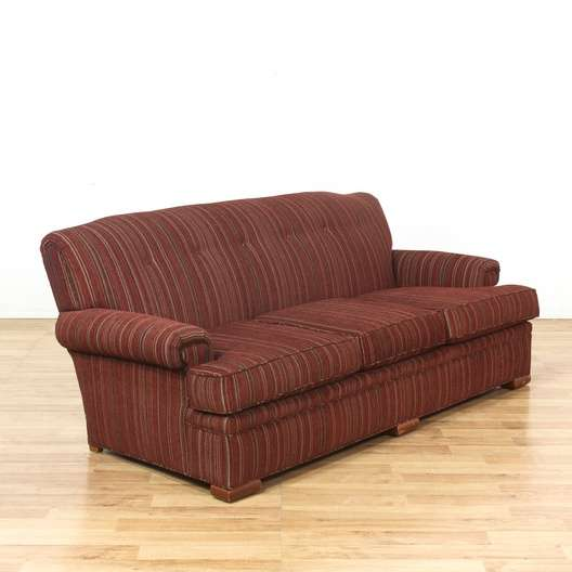 Red Striped Tufted Back Sofa Couch | Loveseat Vintage Furniture Los ...