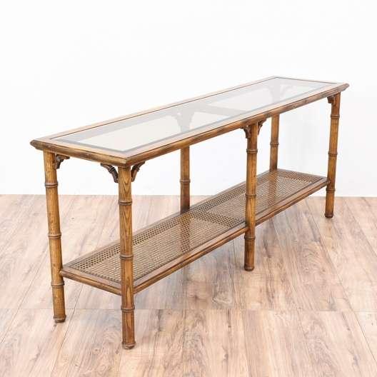 Tropical Rattan Bamboo Console Sofa Table Loveseat