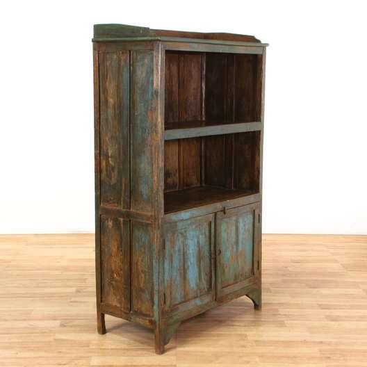 Rustic Turquoise Indonesian Bookshelf Bookcase Cabinet