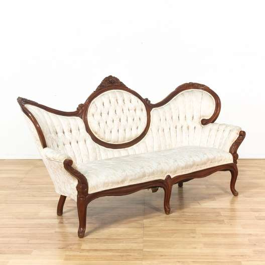 Tufted Victorian Carved Upholstered Parlor Sofa Couch