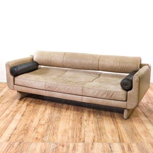 Modern Grey Leather Sofa W Black Cylinder Pillows