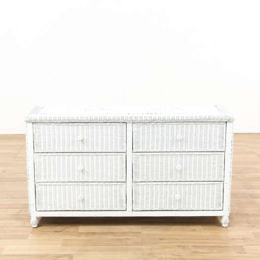 6 Drawer White Wicker Dresser 1 | Loveseat.com Los Angeles