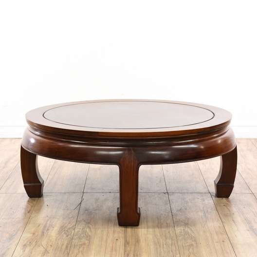 Round Asian Style Solid Rosewood Coffee Table