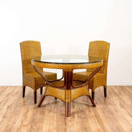 """Pier One Furniture Quality: """"Pier 1 Imports"""" Rattan Table & 2 Dining Chairs Set"""