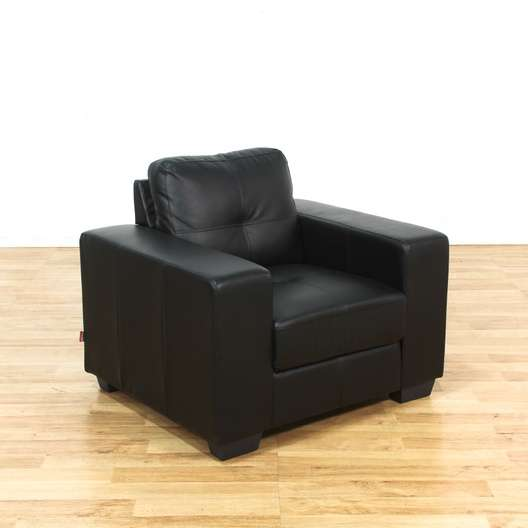Pellissima Modern Black Italian Leather Armchair 2