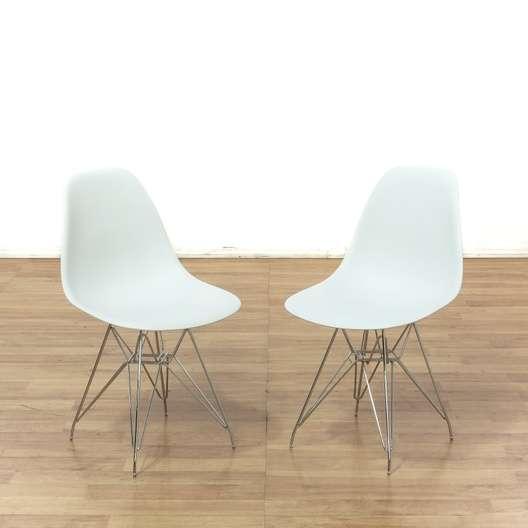 Awe Inspiring Set Of 4 Modern White Bucket Dining Chairs Loveseat Machost Co Dining Chair Design Ideas Machostcouk