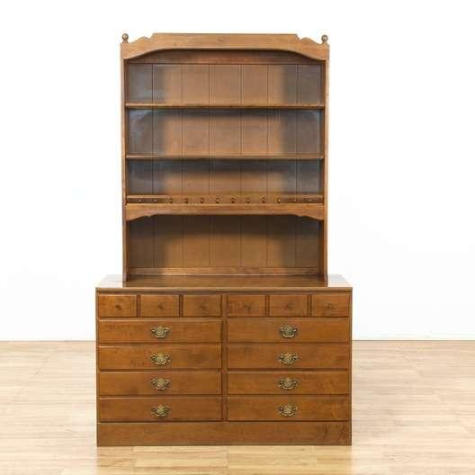 Ethan Allen 6 Drawer Short Dresser W Bookcase Hutch