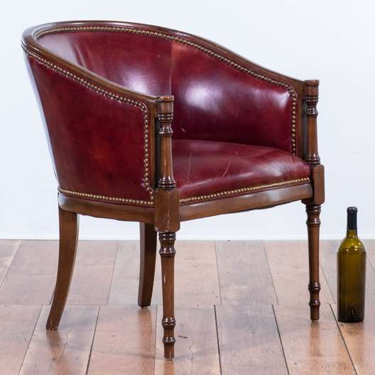 Fantastic American Colonial Red Leather Barrel Back Chair Unemploymentrelief Wooden Chair Designs For Living Room Unemploymentrelieforg