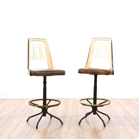 Set of 2 retro 80 39 s lucite back swivel barstools for Retro 80s furniture