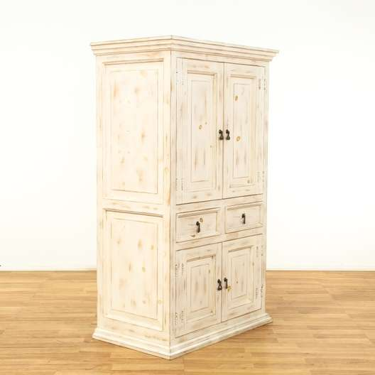 Shabby Chic White Media Center Cabinet