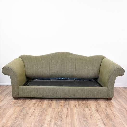 Quot Bauhaus Quot Green Tweed Camelback Sleeper Sofa Loveseat