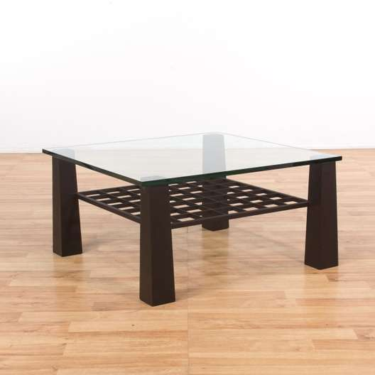 Contemporary Square Glass Coffee Table W Shelf Loveseat Vintage