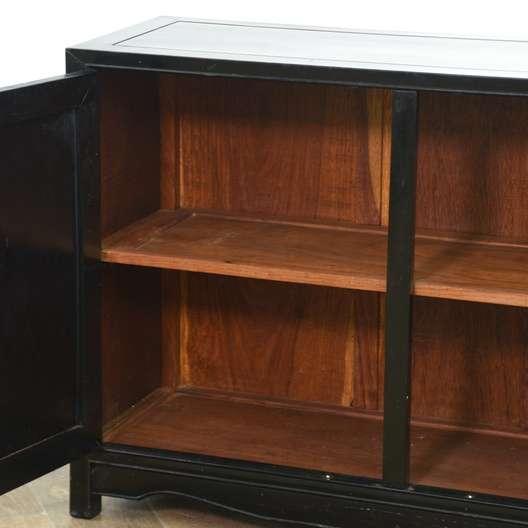 Carved Asian Solid Wood Cabinet Loveseat Vintage