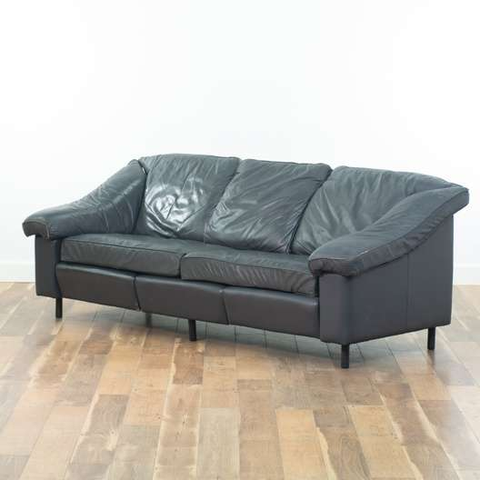 Contemporary Slate Grey Leather Look Sofa   Loveseat Vintage ...