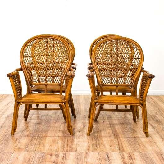 Fabulous Set Of 4 Dark Bamboo Rattan Bohemian Dining Chairs Cjindustries Chair Design For Home Cjindustriesco