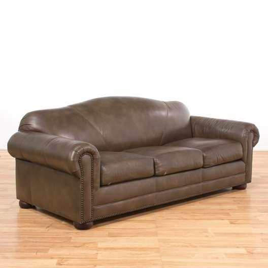 Contemporary Leather Sleeper Sofa W/ Nailhead Trim ...