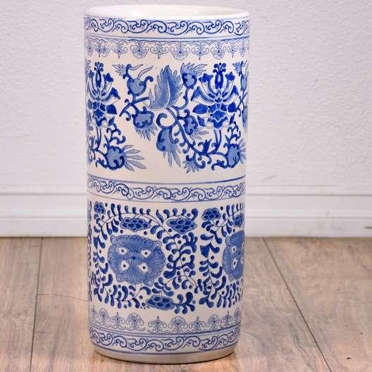 Porcelain Ceramic Umbrella Holder Stand Vase Loveseat Vintage