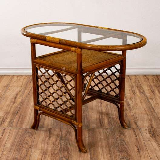 Wondrous Oval Bamboo End Table Small Dining Table Loveseat Vintage Home Interior And Landscaping Ologienasavecom