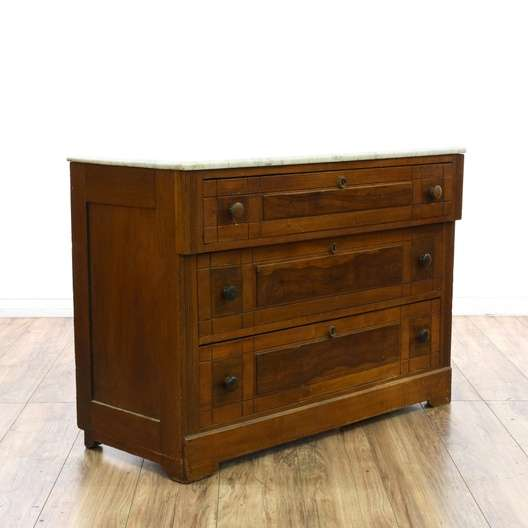 Marble top eastlake style 3 drawer dresser loveseat for Eastlake storage