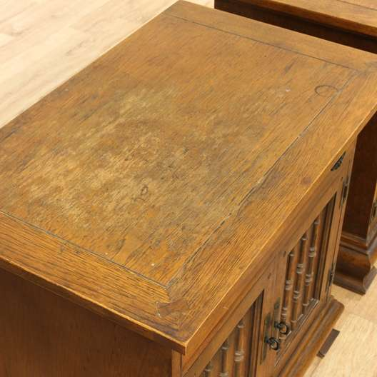 Pair of carved mid century nightstands w cabinet for G furniture los angeles