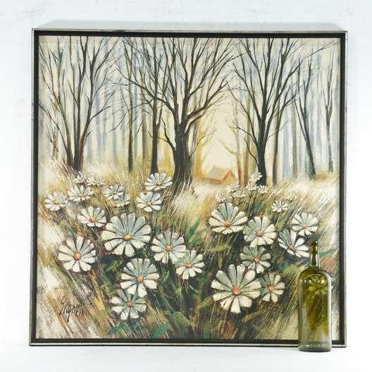 Print Shipman Mid Century Daisy Field Landscape Loveseat