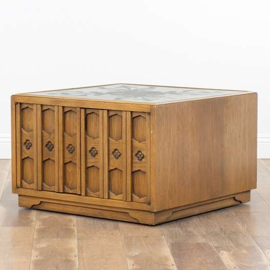 Drexel 'Esperanto' Large Cabinet End Table W/ Slate Top