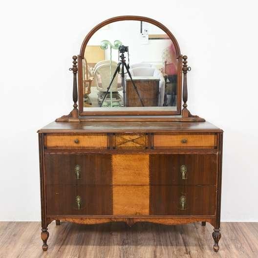 Antique Art Deco 2 Toned Dresser W Mirror Loveseat Vintage