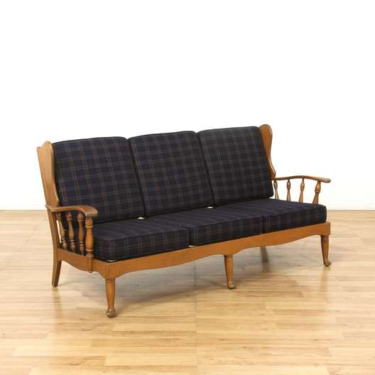 Blue Plaid Sofa Couch W Wood Frame Loveseat Vintage