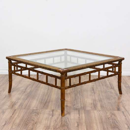 Tropical Bamboo Rattan Glass Top Coffee Table Loveseat