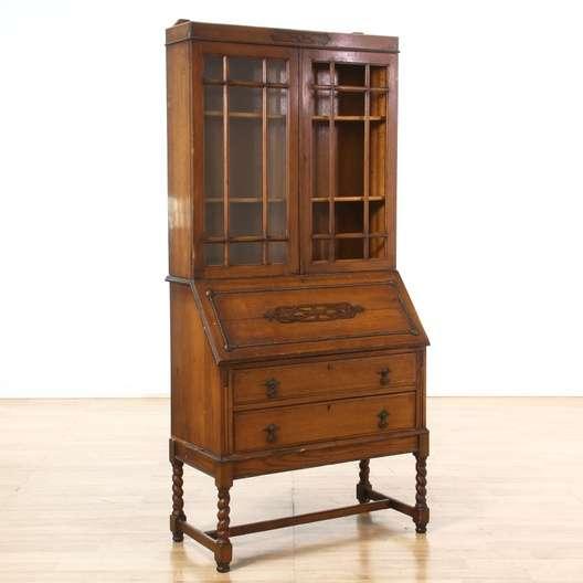 Traditional Barley Twist Secretary Desk w/ Top Hutch - Vintage Secretary Desks & Used Secretary Desks In San Diego, Los