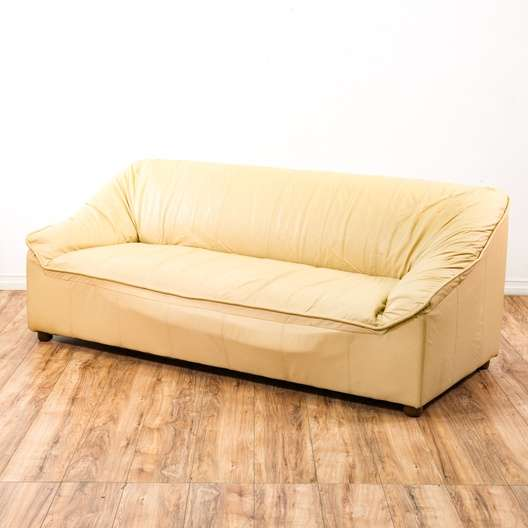 Off White Oversized Leather Sofa Couch Loveseat Vintage Furniture