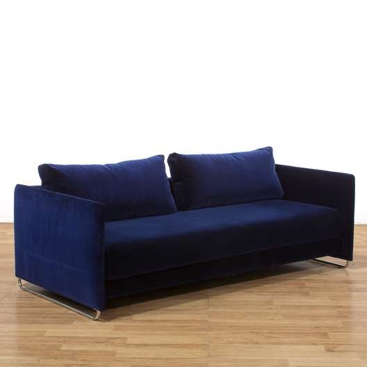 Brilliant Cb2 Tandem Sleeper Sofa In Deep Blue Loveseat Com La Auction Pabps2019 Chair Design Images Pabps2019Com