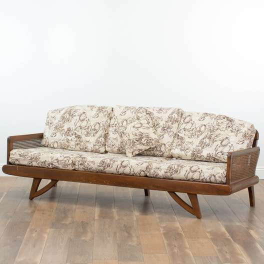 Mid Century Modern Wood Frame Sofa Loveseat Vintage Furniture