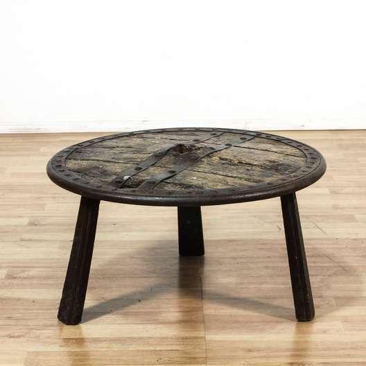 Primitive Rustic Round Shield Coffee Table