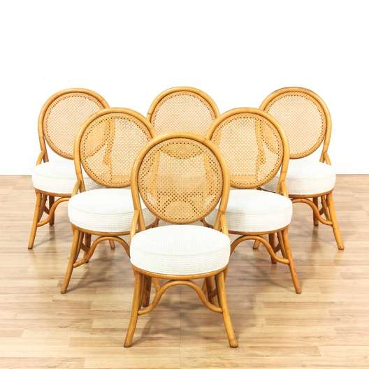 Admirable Set Of 6 Bamboo Cane Bohemian Dining Chairs Loveseat Com Los Angeles Cjindustries Chair Design For Home Cjindustriesco