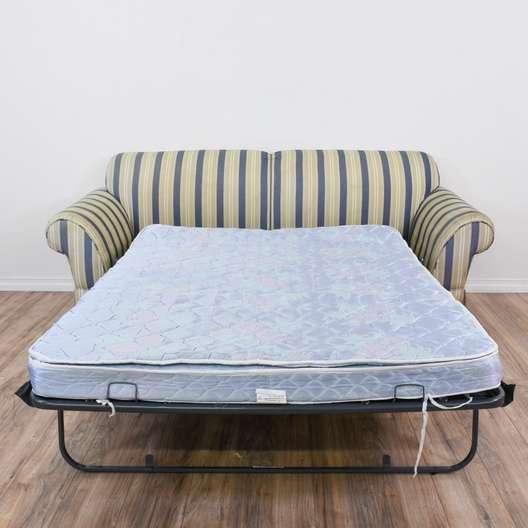 Beige Sleeper Sofa: Striped Blue & Beige Sleeper Sofa