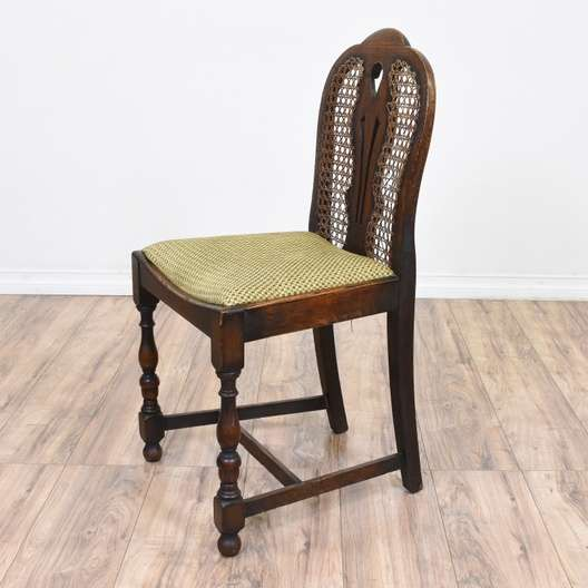 Dining Room Chairs San Diego: Carved Walnut Cane Back Dining Chair