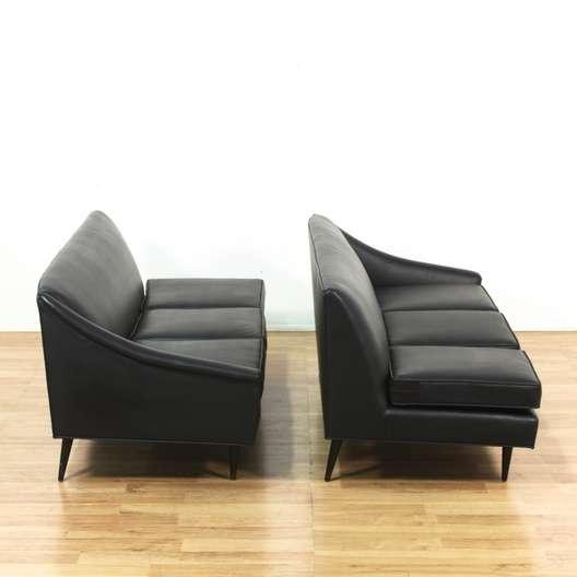 "Modern Black ""Naugahyde"" Sectional Sofa Couch"