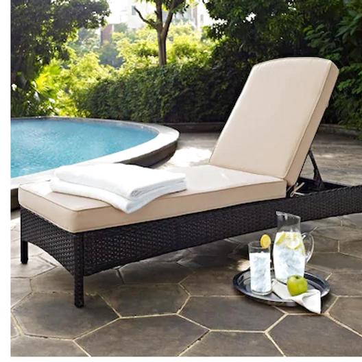 Palm Harbor Patio Chaise Lounge W White Cushions