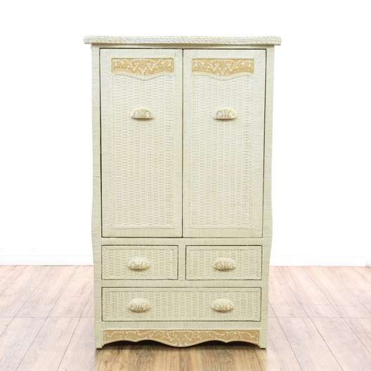 """Pier One Furniture Quality: """"Pier 1"""" Cottage Chic White Wicker Armoire"""