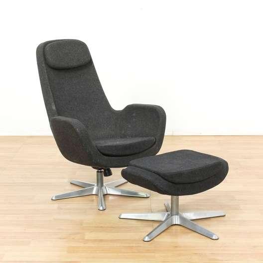 Ikea Karlstad Black Lounge Chair Ottoman