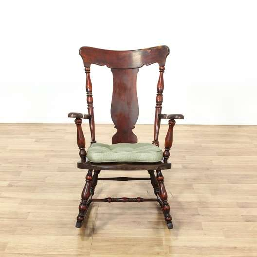 Next - Antique Early American Splat Back Rocking Chair Loveseat Vintage
