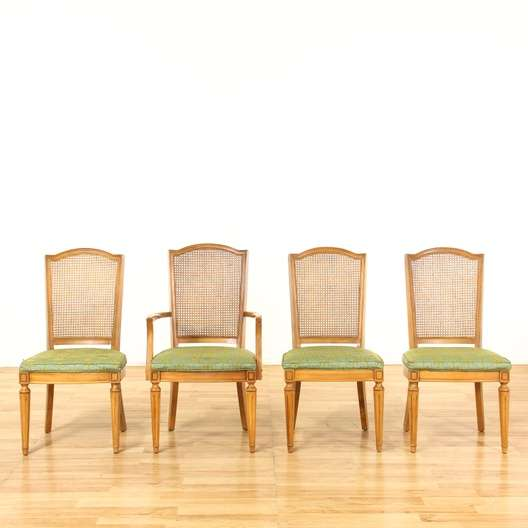 Set Of 4 Bernhardt Cane Back Dining Chairs