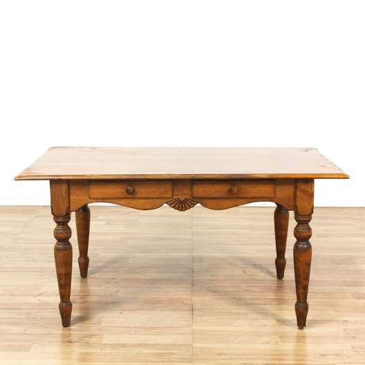 Farmhouse Kitchen Table With Drawers: Farmhouse Carved Dining Table W/ 2 Drawers