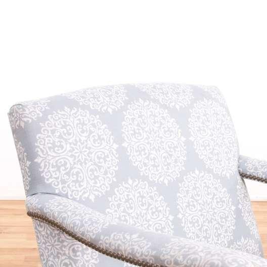 Fantastic White Blue Print Armchair W Nailhead Trim Loveseat Creativecarmelina Interior Chair Design Creativecarmelinacom