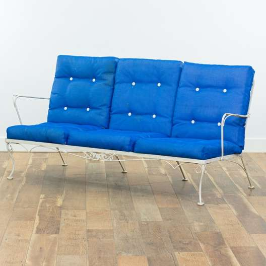 Fabulous Vintage White Wrought Iron Patio Bench Loveseat Vintage Bralicious Painted Fabric Chair Ideas Braliciousco