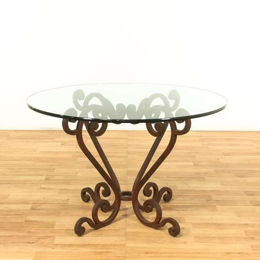 Wrought Iron Base Round Dining Table