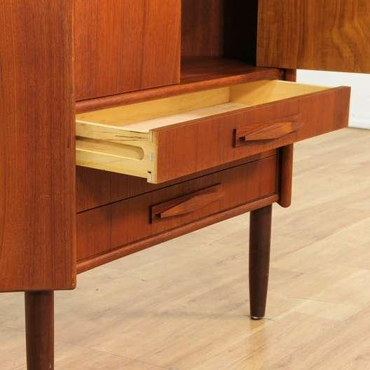Danish modern teak corner cabinet loveseat vintage for Danish modern la