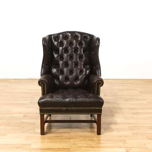 Awesome Schafer Bros Tufted Leather Wingback Armchair Loveseat Machost Co Dining Chair Design Ideas Machostcouk